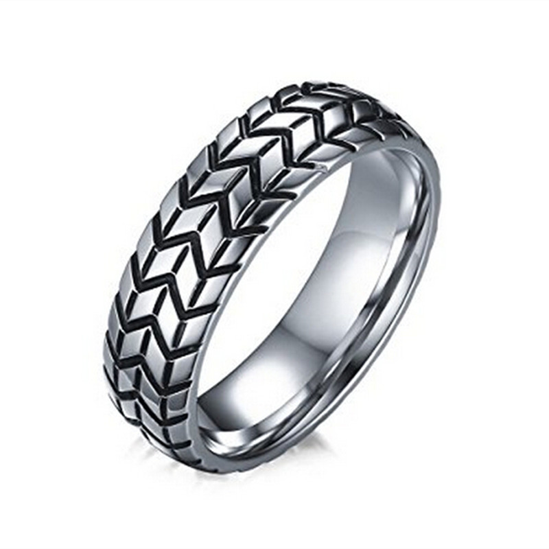 Yiwu Meise Stainless Steel Tire Tread Pattern Band Fashion Ring