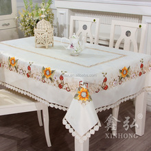 wholesale polyester floral cutwork embroidery tablecloth