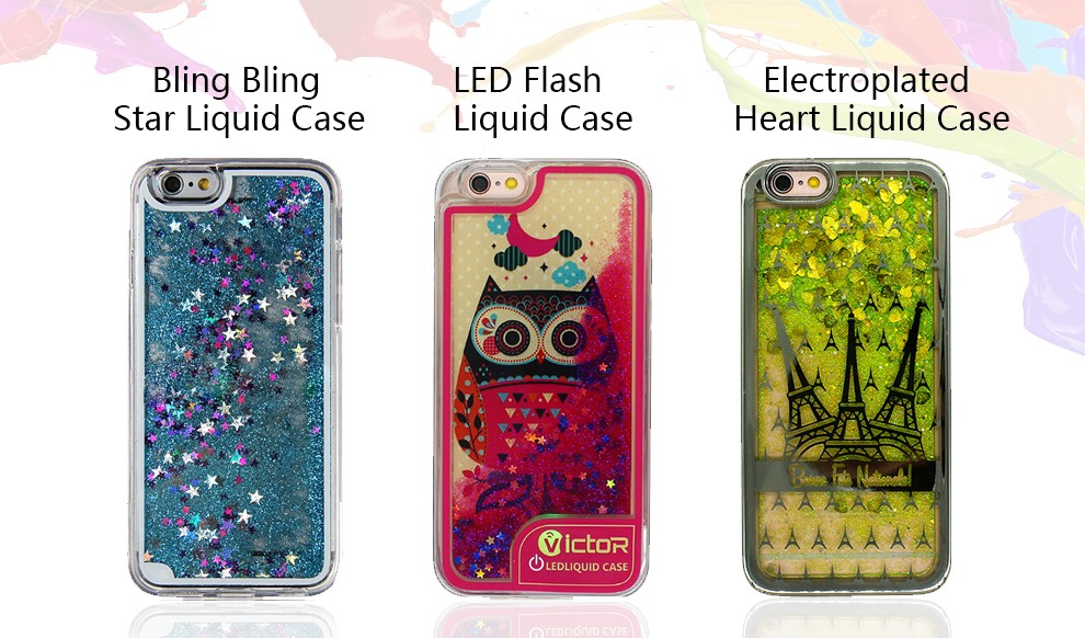 Flashing printing pattern liquid led light phone case for iPhone 6