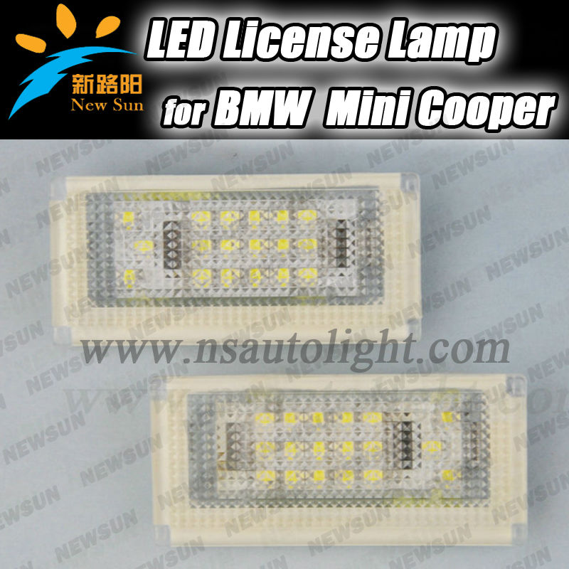 Top quality Error Free car led license light for BMW Mini cooper R50, R52, R53 18 SMD LED tail license light,3528 led rear light