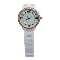 New design factory wholesale waterproof watch white ceramic beautiful ladies watches