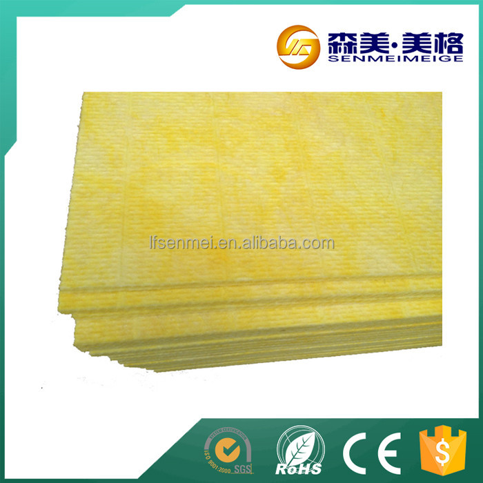 50mm thickness acoustic mineral fiber board/construction heat insulation blanket/white film face plywood glass wool insulation
