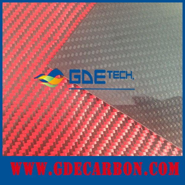 Glossy surface Red color 3k carbon fiber/fibre sheet for sale, more colors available