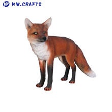 Lifelike European garden animal red fox statue zoo figurine