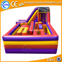 Simple design PVC obstacle course equipment/inflatable wipeout course for sale