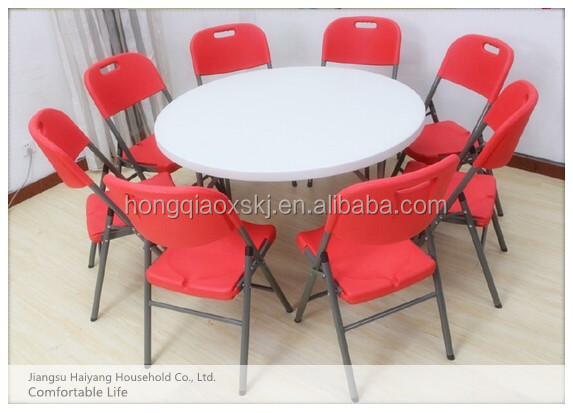 5' blow molded outdoor plastic folding banquet round table,children half moon round reading table, folding portable sink table