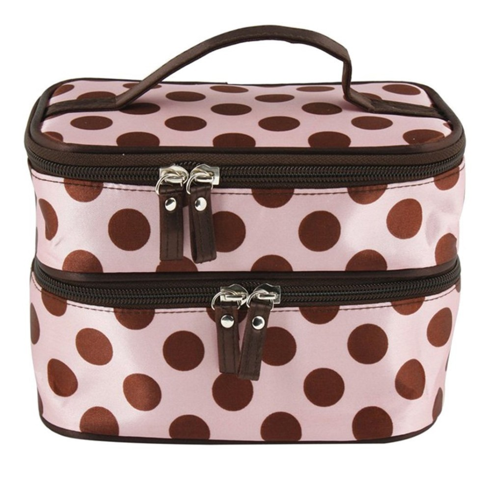 Pink Double Layer Coffee Polka Dot Cosmetic Bags Toiletry Handbag with 4 Zipper