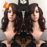 New Factory Color Medium Brown Hair Full Lace Wig Custom Color With Baby Hair Top Brazilian Hair Quality