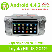 6.2 inch HD digital touch screen Toyota Hilux 2012 car dvd player with gps system/TV/bluetooth/Radio function