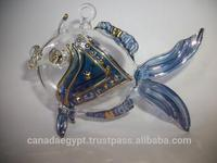 Handmade air blown glass fish ornament