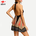 Vintage Backless Halter Women Dresses Summer Sexy Ladies Multicolor Plunge V-neck Tassel Tie A Line Mini Woman Dress