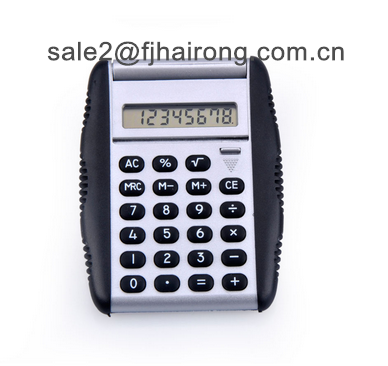 Mini pocket calculator with flip cover with rubber grip palm size,8 digit electronic calculator with auto flip cover