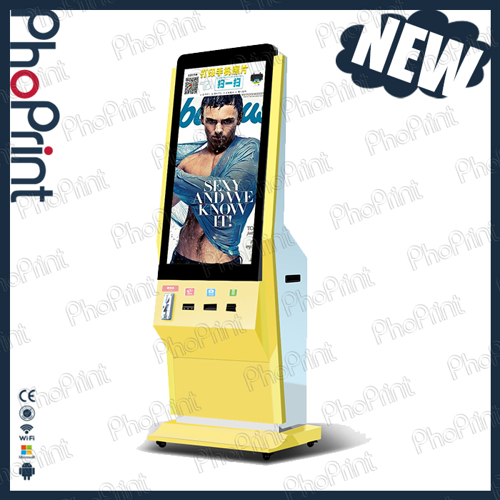 Wireless 3G/4G Wifi network 42 inch LCD touch screen advertising display instant mobile phone gallery print kiosk machine