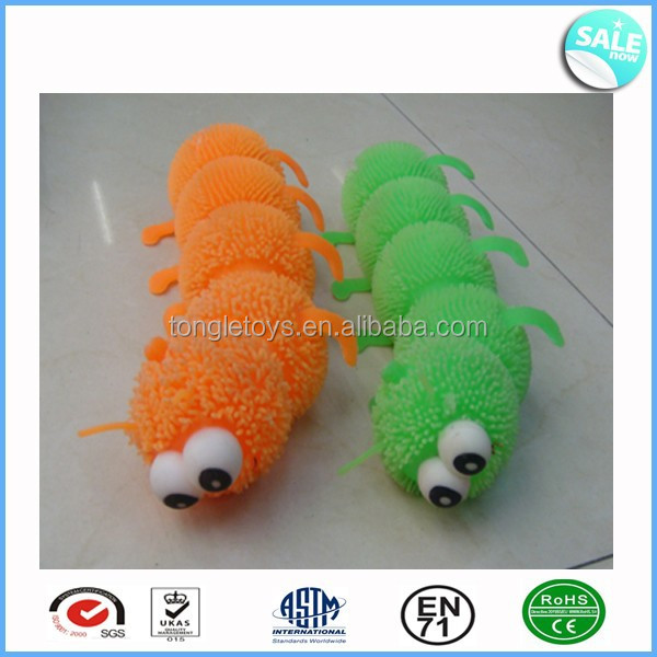 Funny convex eyes light up caterpillar puffer toy