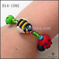 Beauty Novel Design Stretchy Bracelet Garden Bugs Bracelet Polymer Clay Ladybug Bumble Bee Bracelet Jewelry