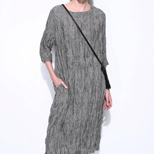 High quality Natural fold texture linen dress women summer leisure dress