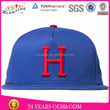 Blue cotton 3d puff embroidery custom snapback man hat