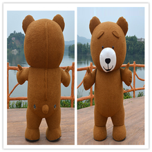 Funny cosplay inflatable costume short plush fur bear inflatable mascot costume for adult