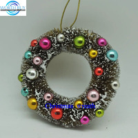 "Wholesale sale green 6"" Christmas wreath decoration w/ multi colorful beads"
