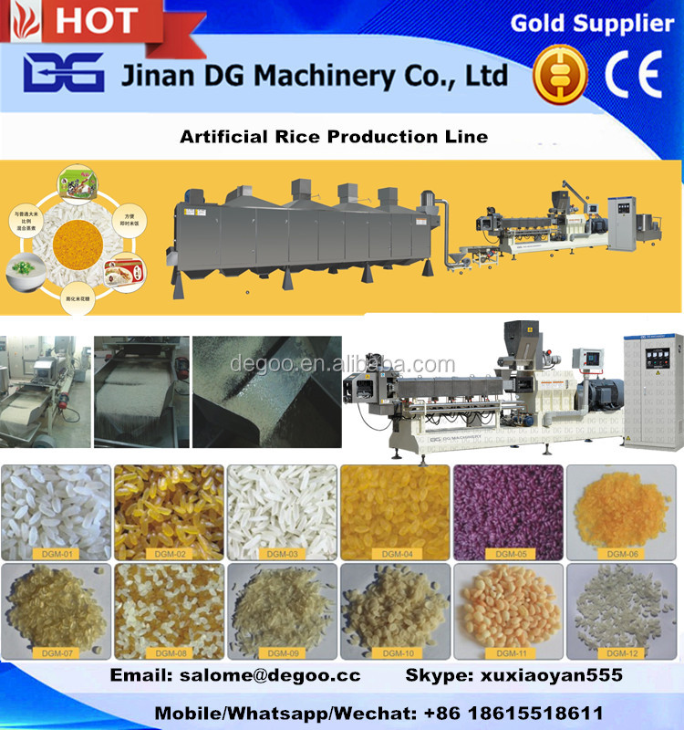 Broken rice reprocess artifical extruded rice food making machine/process line