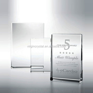 Blank Polished laser engraved Crystal Glass Award for 25th anniversary gift promotional item