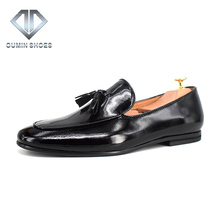 wholesale fashion style genuine leather loafers shoes for men, new design slip on on shoes with tassels manufacturer in China