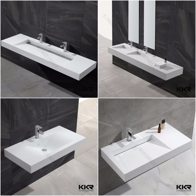 White Matte Rectangular Solid Surface Stone Acrylic Corian Bathroom Countertop Sink From China