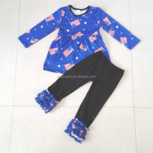 high quality 4th of july ruffle handmade kids clothes from yiwu