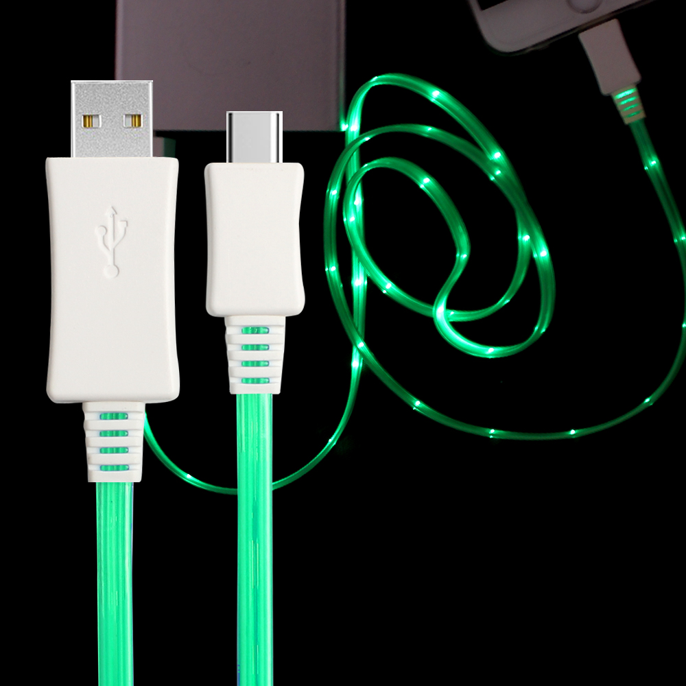 LED flashlight visible flowing charger light up charging USB sync data cable