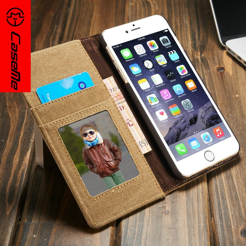Wholesale Jean Canvas PU Leather Mobile Cover Cases Wallet Flip Phone Stand Case with Card Slots For Iphone 6 Plus