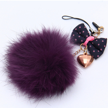 fur pom poms in phone custom anti dust plug with Flower and Leather Tassels