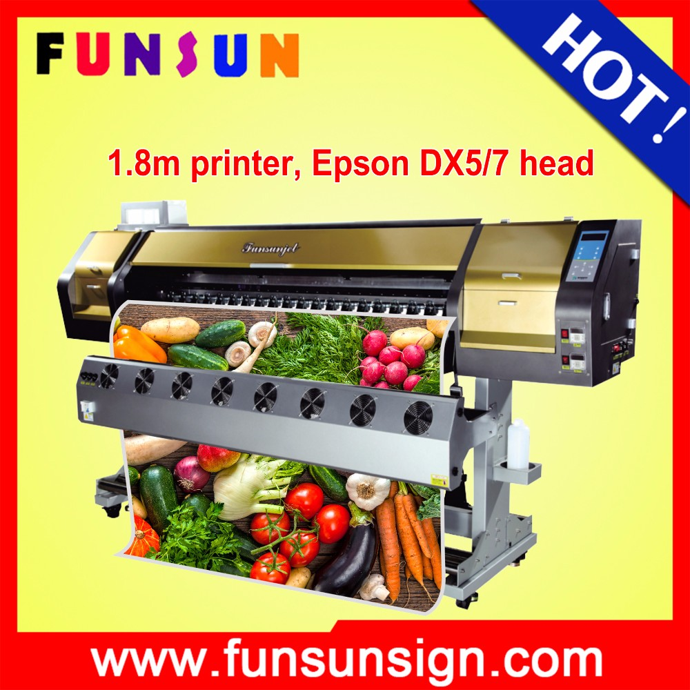 Funsunjet FS-1802G 1.8m 6ft 1440dpi flex banner eco solvent printer a3