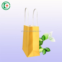 Yellow paper bags with twisted handles 9*18*6cm party,food,gift,shop