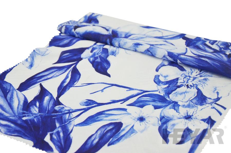 Pretty Blue And White Print Fabric Images - Bathroom with Bathtub ...