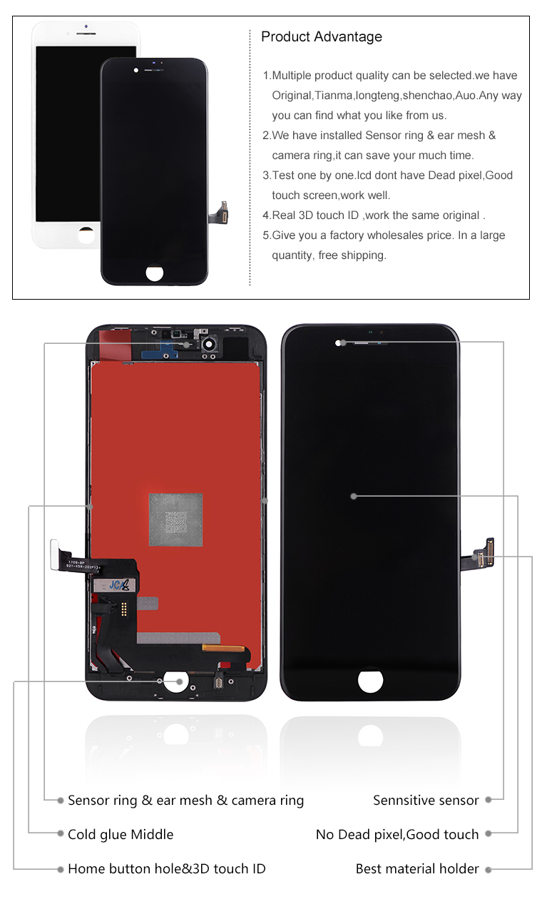 new for iphone 7 plus black lcd assembly with high quality