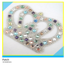 Rhinestone Clothing Applique Fancy Crown Design 11.5x16.5cm Color Square Glass Crystal