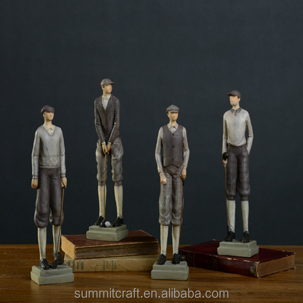 polyresin country side antique vintage golf figures