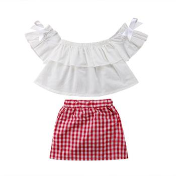 Off Shoulder White T-shirt Gingham Dress 2PCS Children Boutique Wholesale Clothing Infant Little Girl Clothes