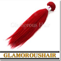 Large stock double weft shedding and tangle free red color brazilian remy human hair weaving wholesale