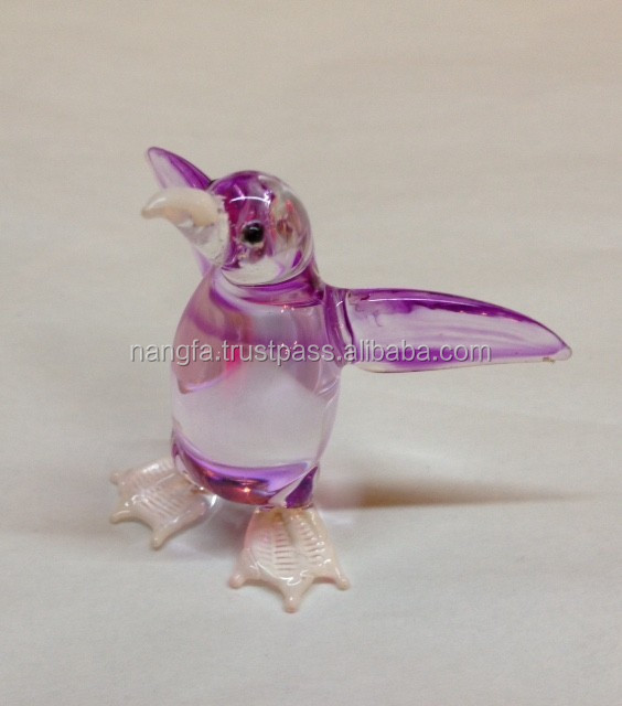 Light orchid hand-painted glass penguin