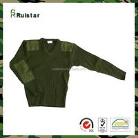 Military V Neck 100% Acrylic Olive Green Heavy Winter Sweater