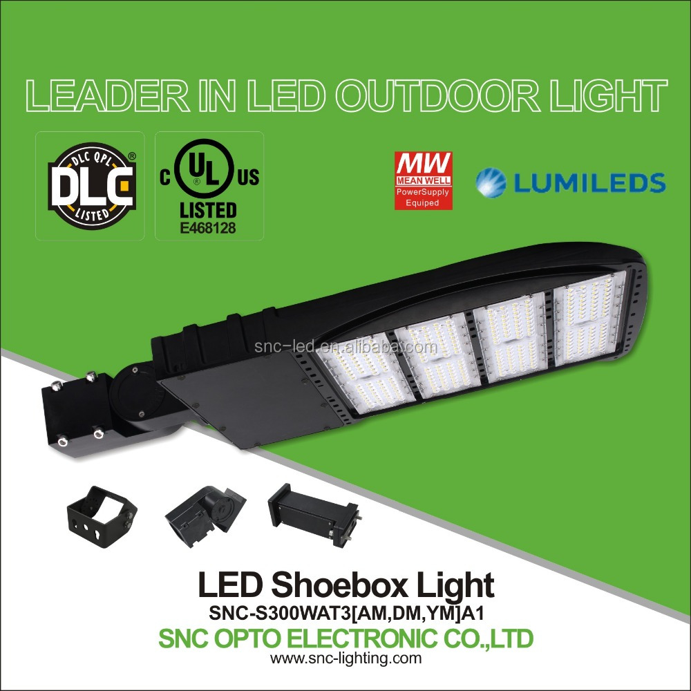 UL 300W LED shoe box light IP65 LED parking lot lighting 5 years warranty for badminton court, football court
