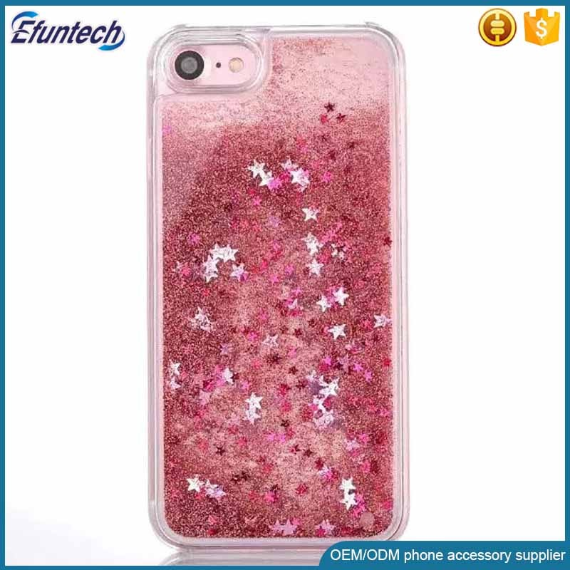 Drop shipping glitter star liquid quick sand cell phone shell for iphone 7 plus cover case