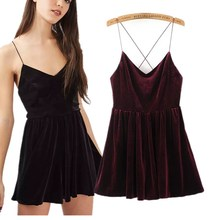 Wholesale Clothing Woman Fashion Cami Mini Velvet Black Dress Custom Clothing OEM ODM Factory