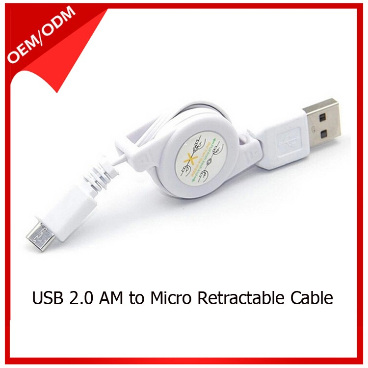 Retractable USB Cable to Micro USB Cable