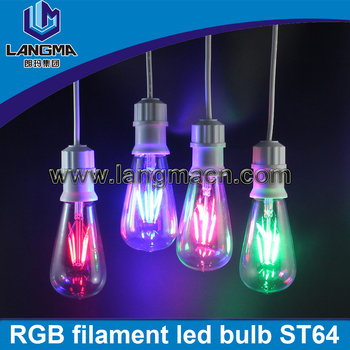 2016 Christmas lighting 4w 6w colorful RGB filament led bulb ST64