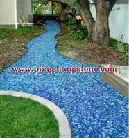 Top selling garden decorative broken blue glass rock prices