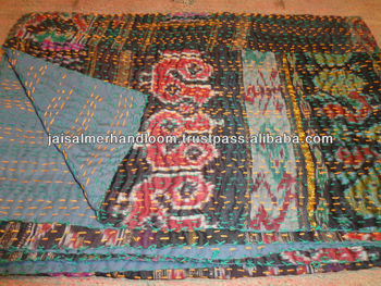 indian silk sari vintage throw bed cover