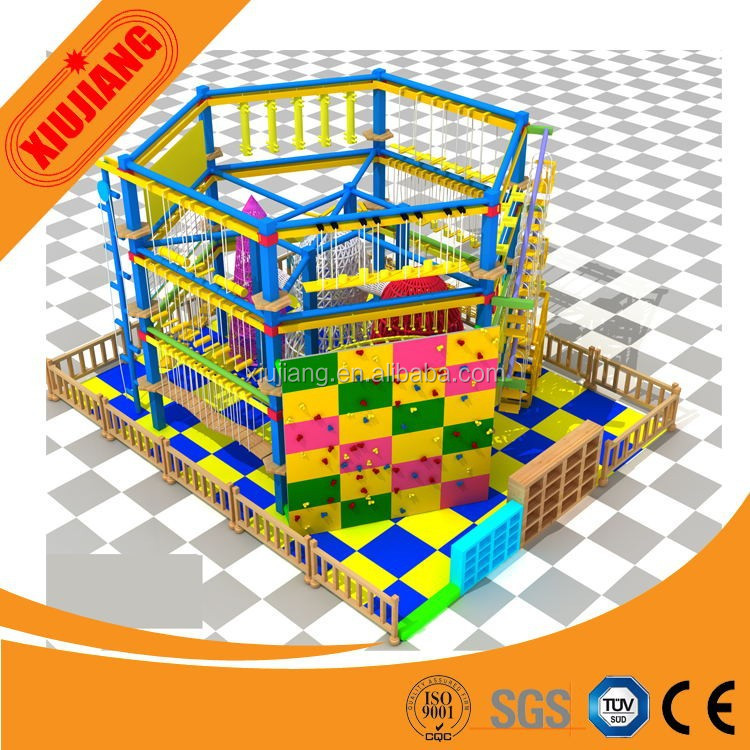 Indoor climbing rope net/ obstacle course playground, commercial indoor children playground