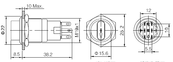 elewind 19mm dpdt illuminated metal selector switch 3
